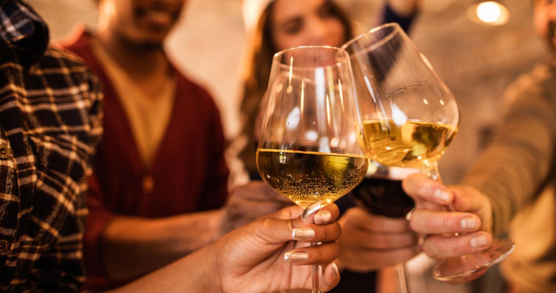 Wine glasses and cheers